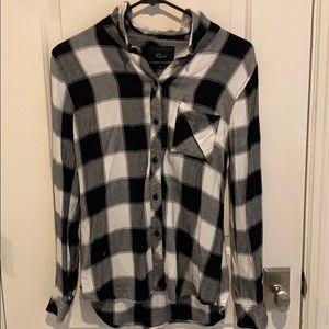 Rails Black White Checkered Flannel Shirt- XS